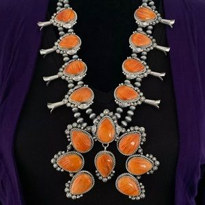 S.S.Orange Spiny Oyster SquashBlossom Necklace K Y